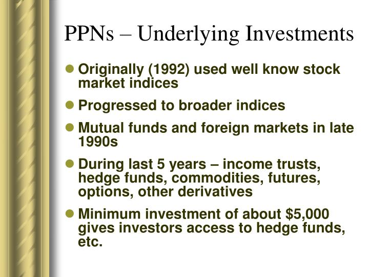 PPNs – Underlying Investments