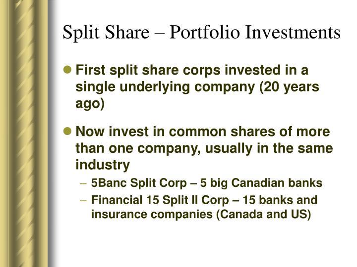 Split Share – Portfolio Investments