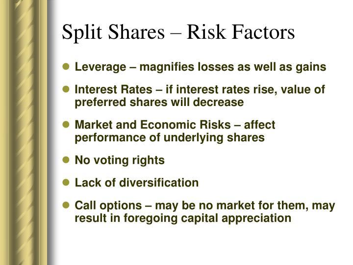 Split Shares – Risk Factors