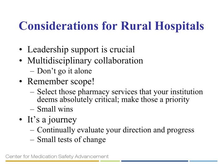 Considerations for Rural Hospitals