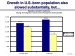 growth in u s born population also slowed substantially but