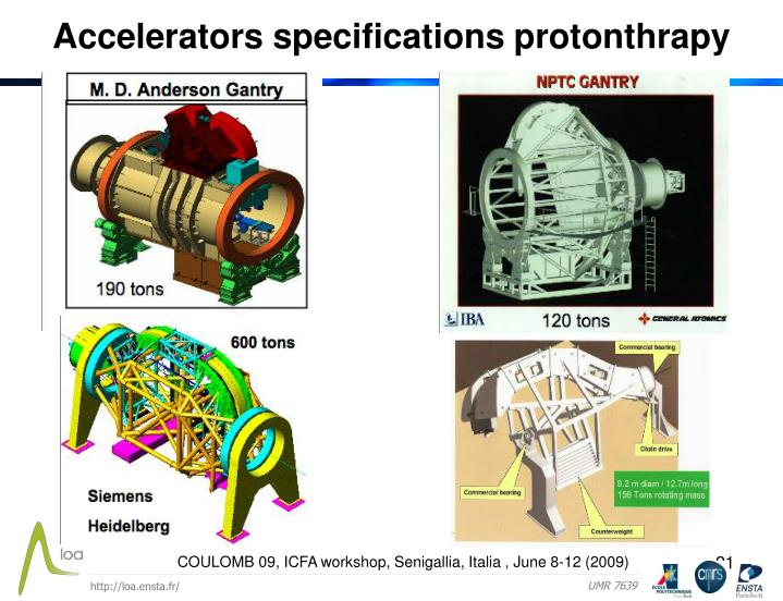 Accelerators specifications protonthrapy