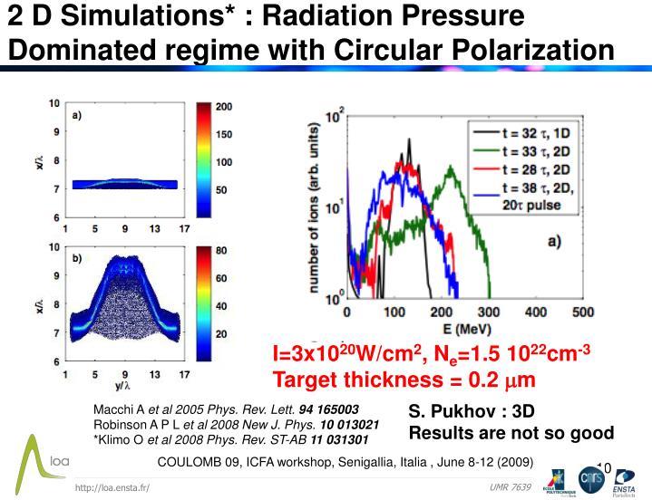 2 D Simulations* : Radiation Pressure