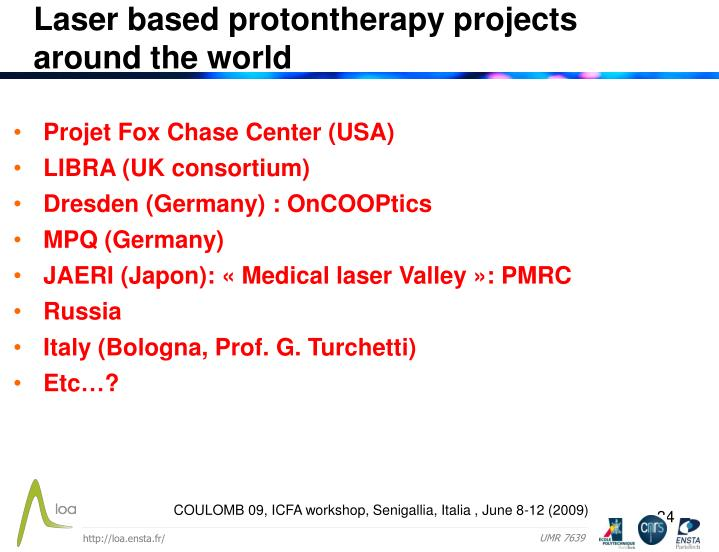 Laser based protontherapy projects
