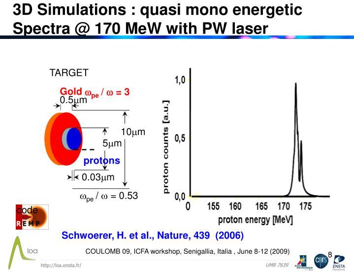 3D Simulations : quasi mono energetic