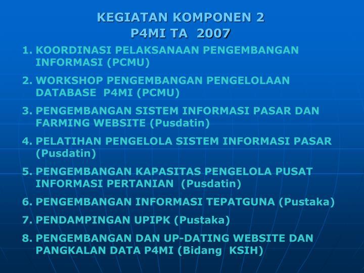 KOORDINASI PELAKSANAAN PENGEMBANGAN INFORMASI (PCMU)