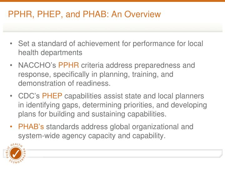 PPHR, PHEP, and PHAB: An Overview