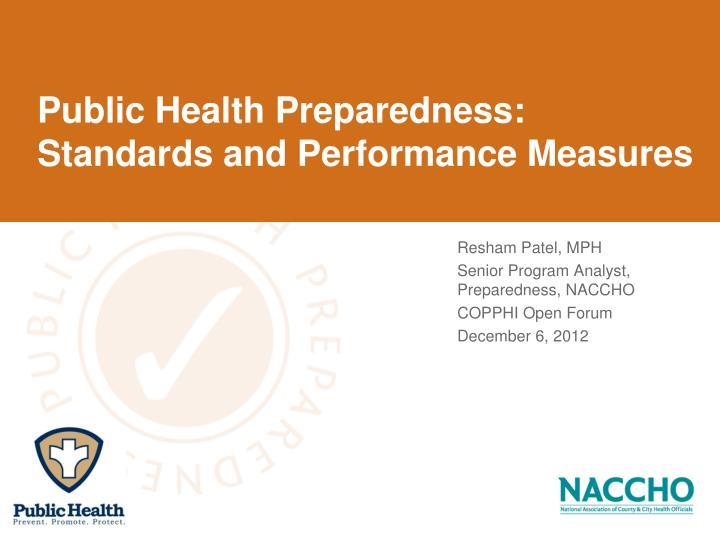 Public health preparedness standards and performance measures