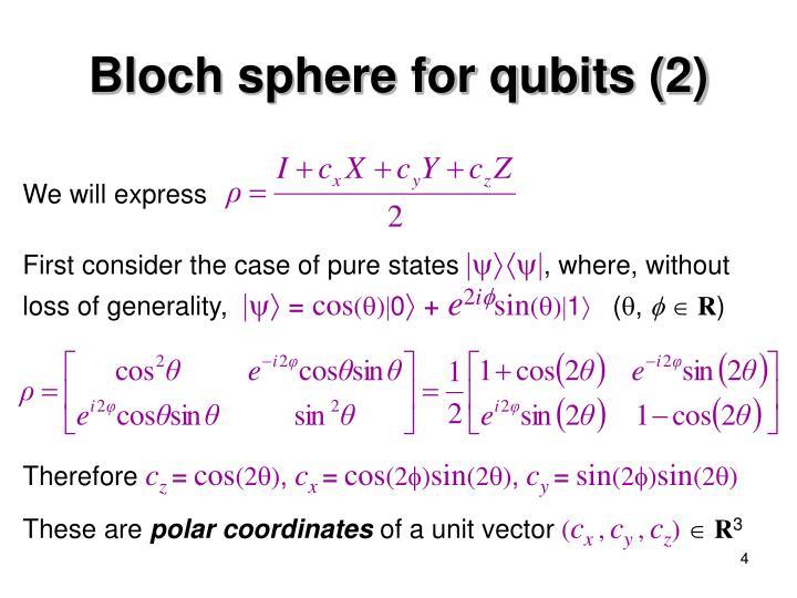 Bloch sphere for qubits (2)