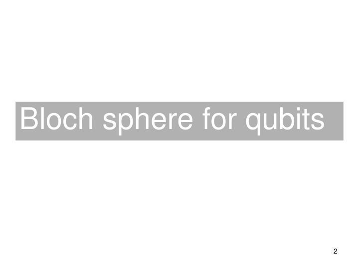 Bloch sphere for qubits