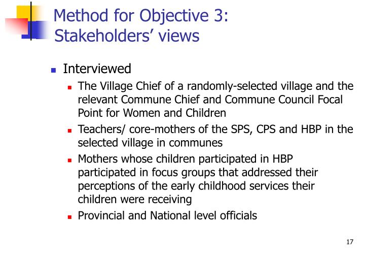 Method for Objective 3: