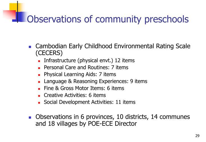 Observations of community preschools