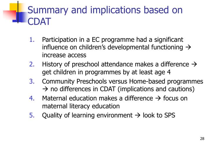 Summary and implications based on CDAT