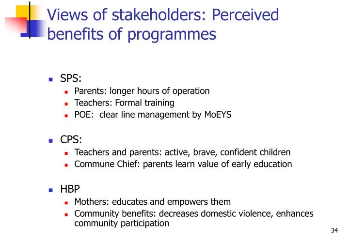 Views of stakeholders: Perceived benefits of programmes