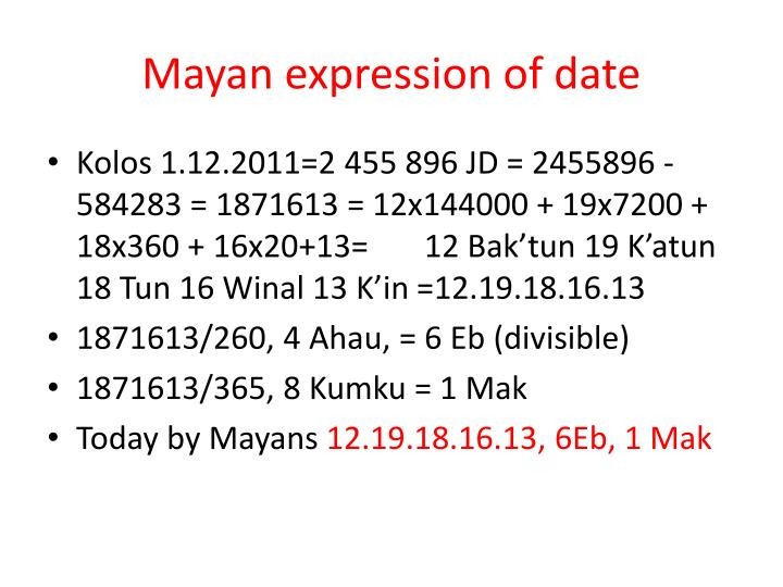 Mayan expression of date