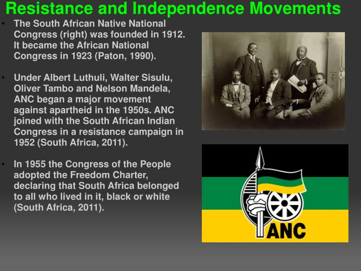 The South African Native National Congress (right) was founded in 1912. It became the African National Congress in 1923 (Paton, 1990).