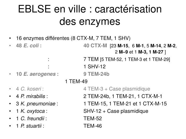 EBLSE en ville : caractérisation des enzymes