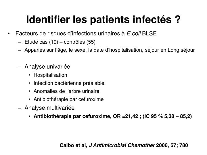 Identifier les patients infectés ?