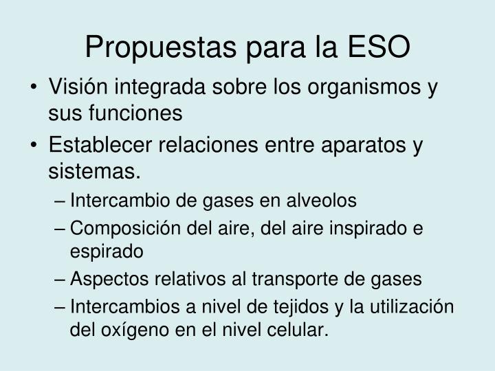 Propuestas para la ESO