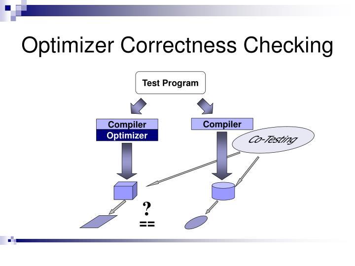 Optimizer Correctness Checking