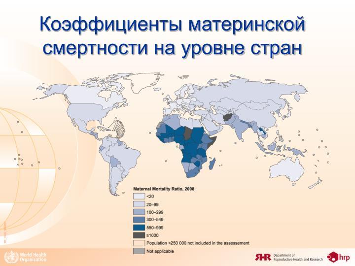 Коэффициенты материнской смертности на уровне стран