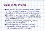 usage of ms project