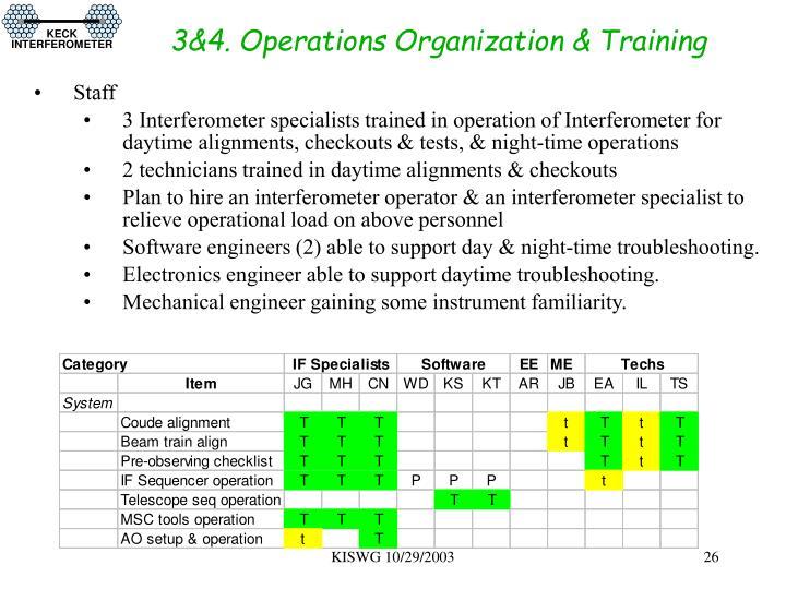 3&4. Operations Organization & Training