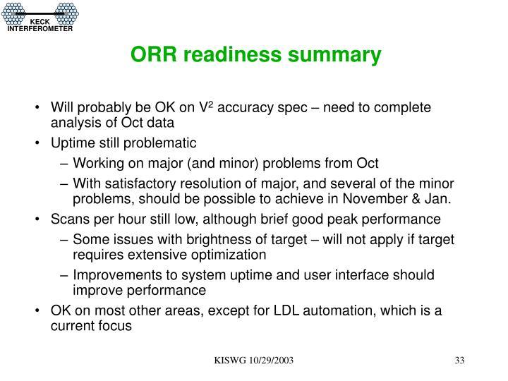 ORR readiness summary