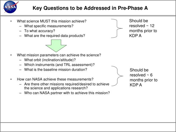 Key Questions to be Addressed in Pre-Phase A