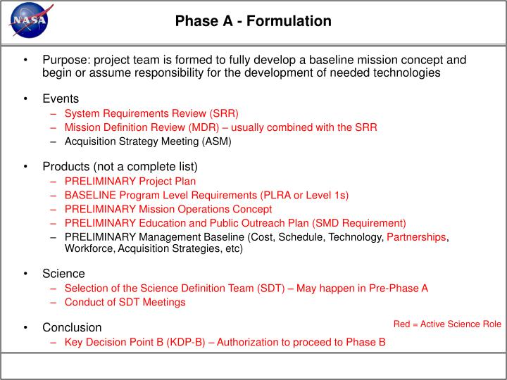 Phase A - Formulation