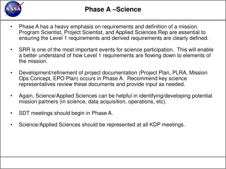 Phase A –Science
