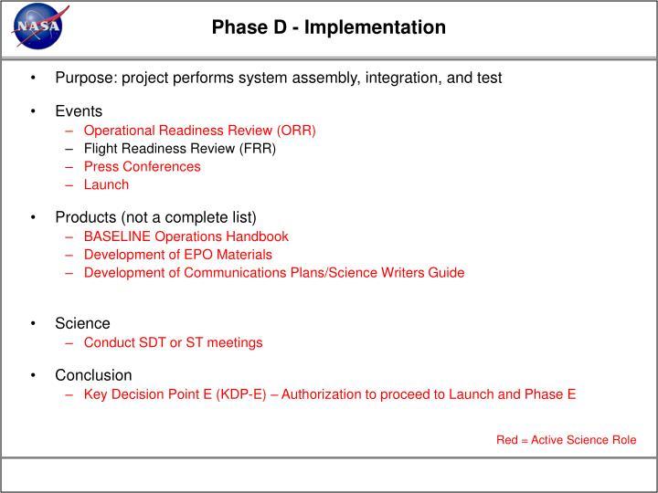 Phase D - Implementation