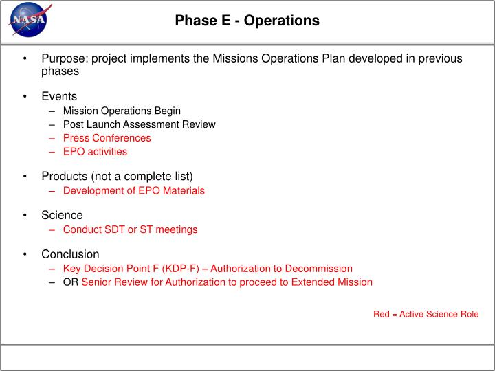 Phase E - Operations