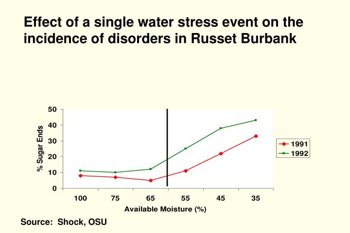 Effect of a single water stress event on the  incidence of disorders in Russet Burbank