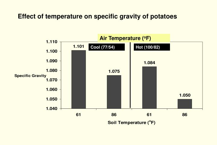 Effect of temperature on specific gravity of potatoes
