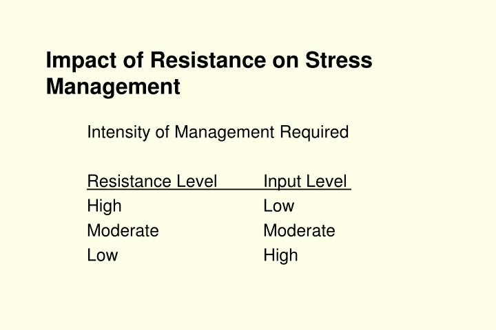 Impact of Resistance on Stress Management