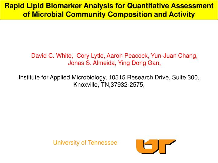 Rapid Lipid Biomarker Analysis for Quantitative Assessment of Microbial Community Composition and Ac...
