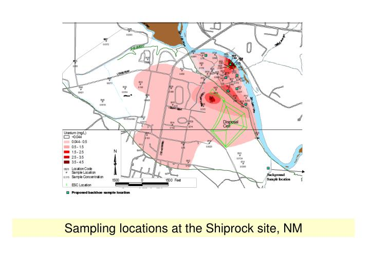 Sampling locations at the Shiprock site, NM