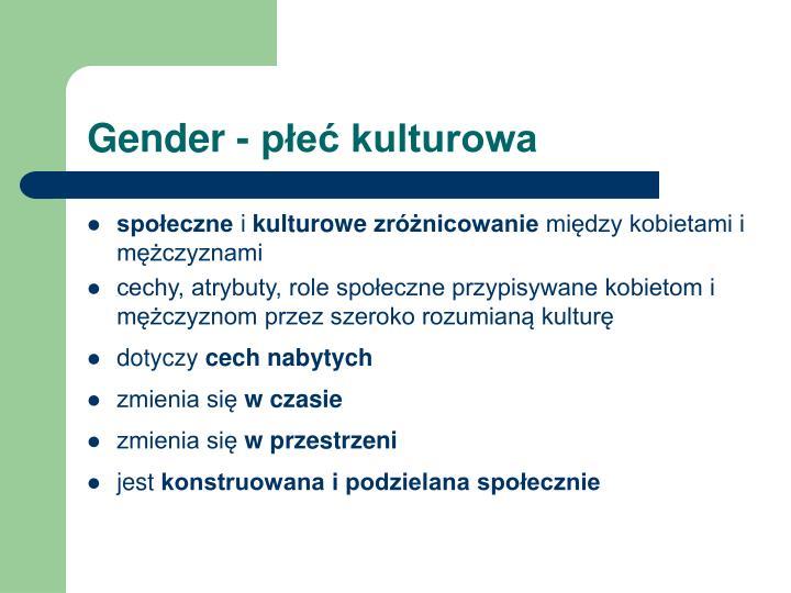 Gender - płeć kulturowa