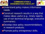 communication dissemination checklist