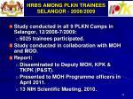 hrbs among plkn trainees selangor 2008 2009