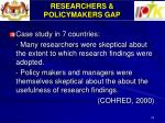 researchers policymakers gap
