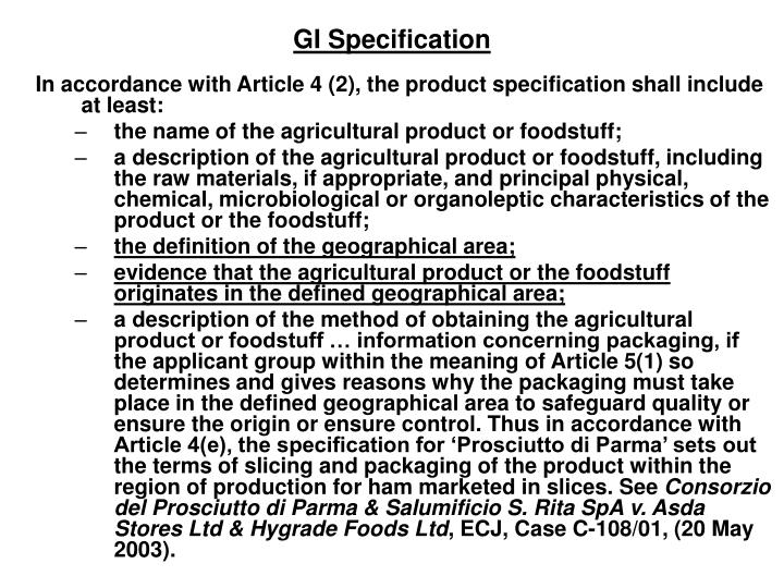 GI Specification