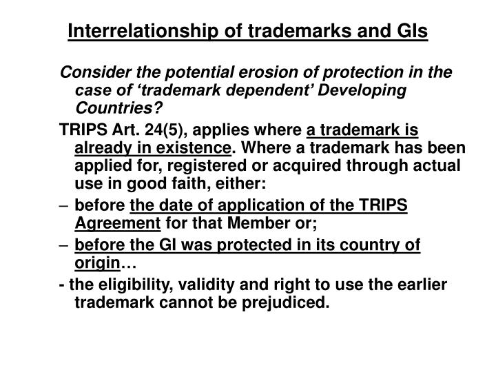 Interrelationship of trademarks and GIs