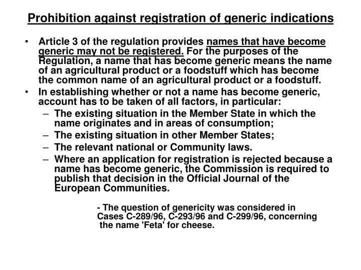 Prohibition against registration of generic indications