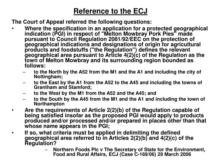 Reference to the ECJ
