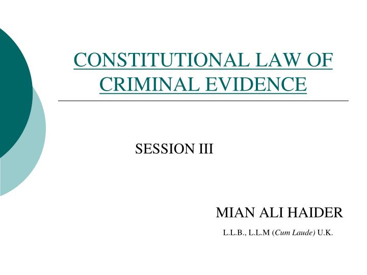 constitutional law of criminal evidence n.