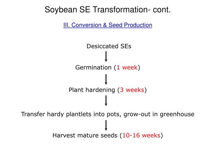Soybean SE Transformation- cont.