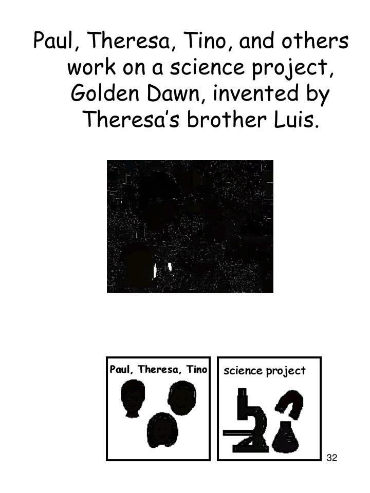 Paul, Theresa, Tino, and others work on a science project, Golden Dawn, invented by Theresa's brother Luis.