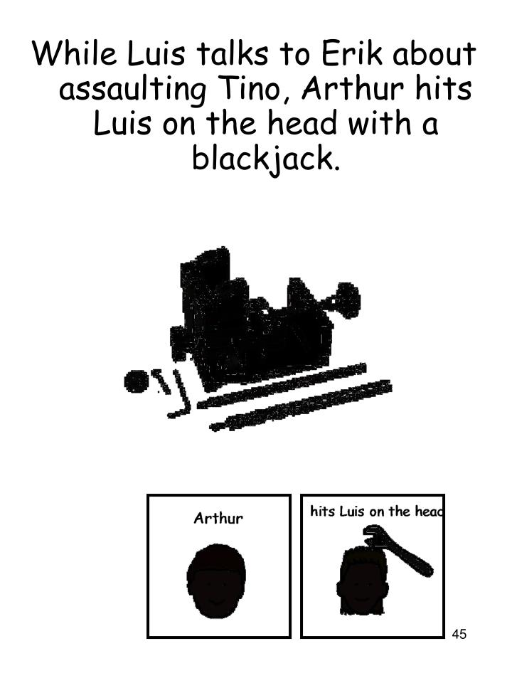 While Luis talks to Erik about assaulting Tino, Arthur hits Luis on the head with a blackjack.